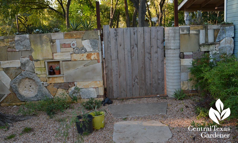 wall artistic recycled materials Casey Boyter Central Texas Gardener