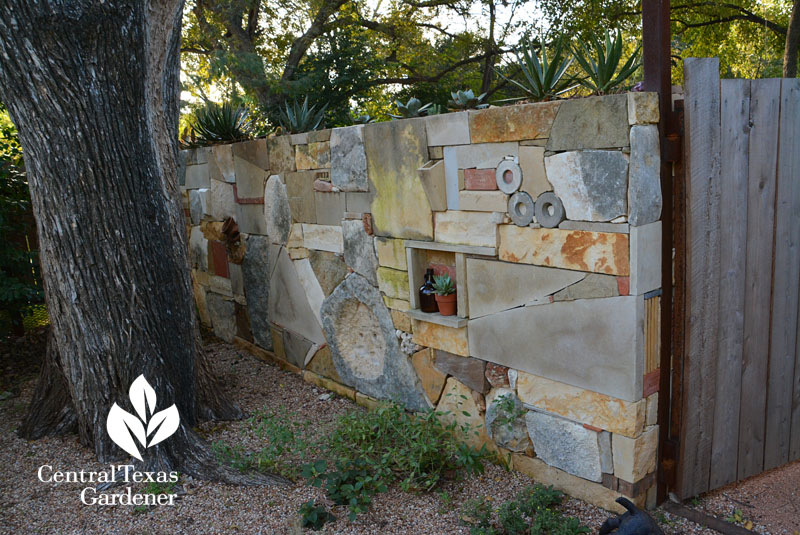 wall stones bricks art metal recycles Central Texas Gardener