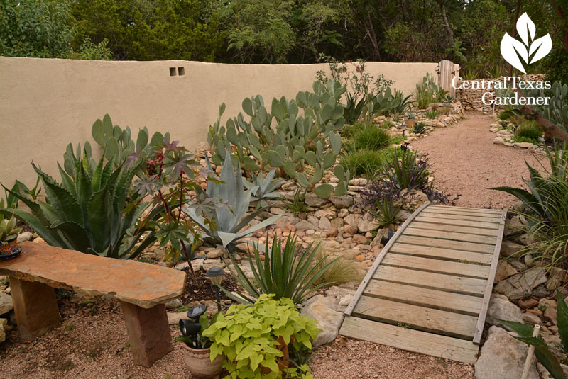 courtyard wall plants and granite path Central Texas Gardener