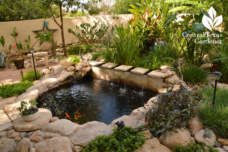 formal limestone backyard pond Central Texas Gardener