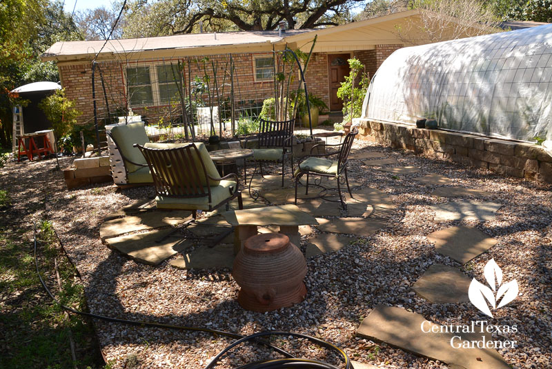 front yard gravel patio raised limestone beds wicking gardens Central Texas Gardener