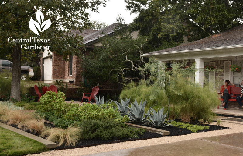 Front yard vegetables habitat and rainwater control Central Texas Gardener