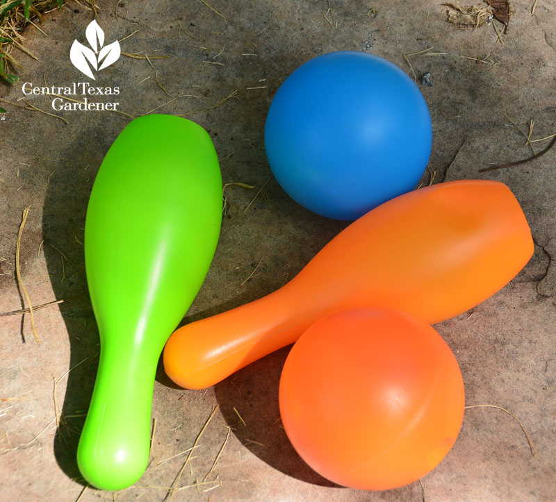 plastic toys to fill garden container Central Texas Gardener