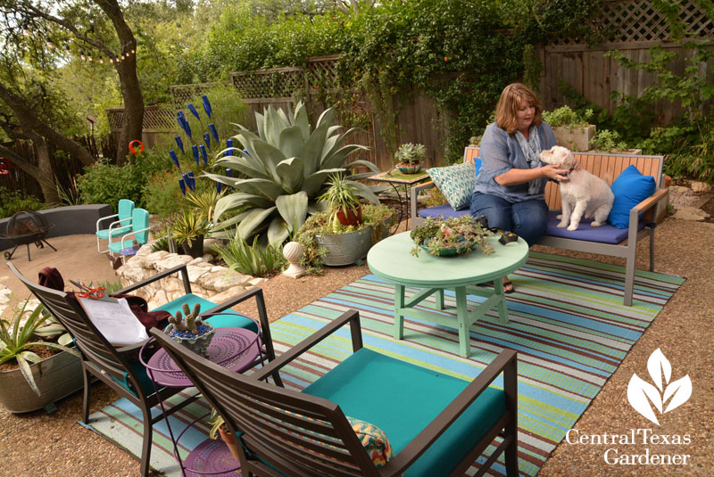 Pam Penick colorful patio Central Texas Gardener