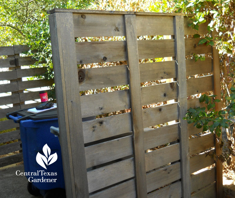 pallet style screen garbage can hide Central Texas Gardener