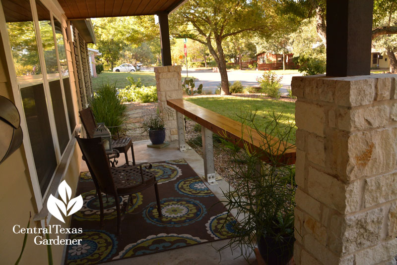front yard porch wine bar and cute hangout Central Texas Gardener