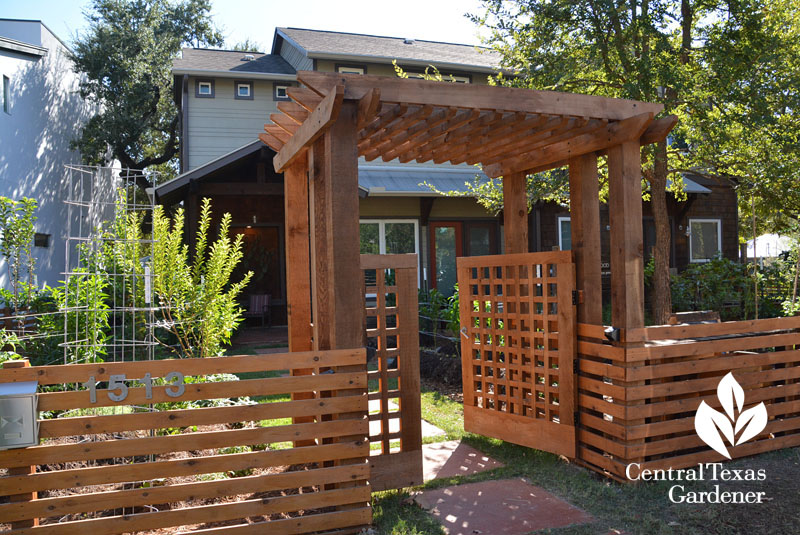 homemade fence entrance arbor front yard food garden Central Texas Gardener