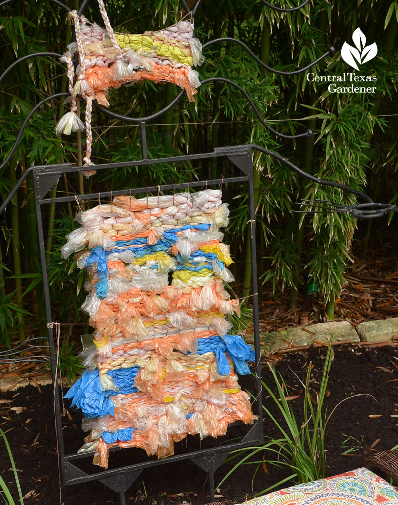 plastic newspaper bag garden art weaving Central Texas Gardener