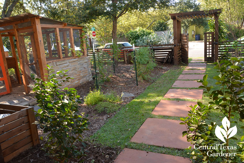 stained concrete path front yard food garden Central Texas Gardener