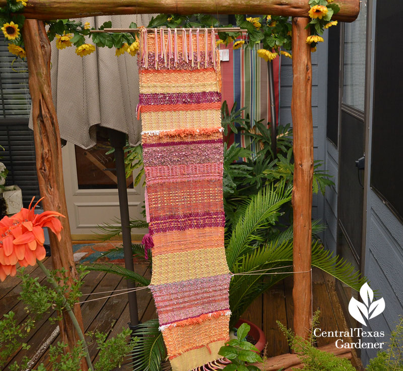 yarn weaving garden art on patio Central Texas Gardener
