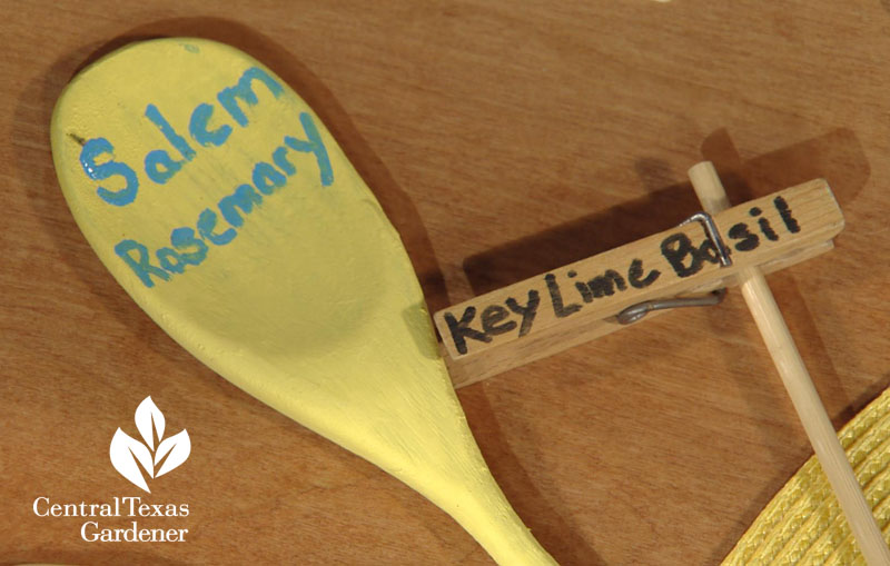 old wooden spoon and clothespin plant tags Central Texas Gardener