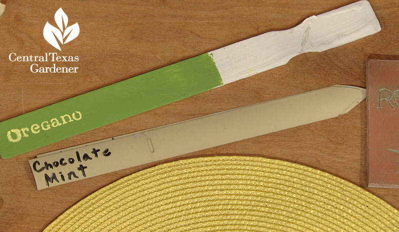 paint stirrer and mini blind plant tags Central Texas Gardener