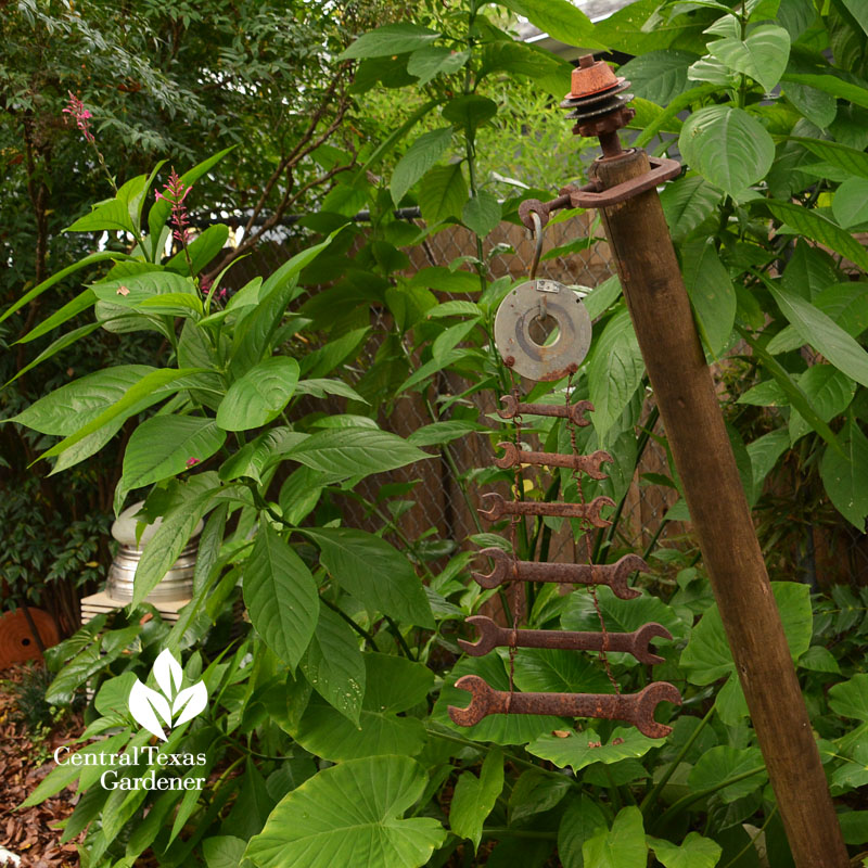 dad's wrenches turned into garden sculpture Central Texas Gardener