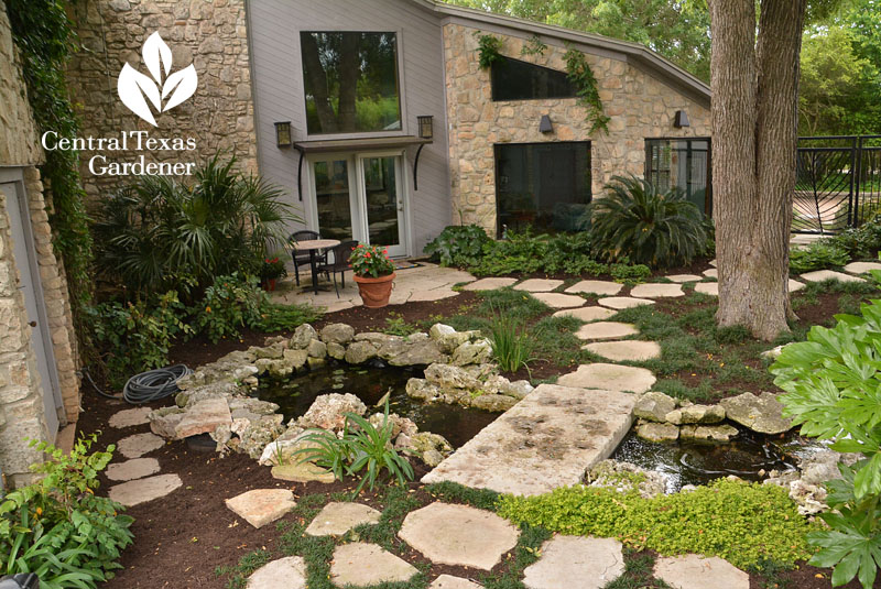 front yard ponds patio courtyard Central Texas Gardener