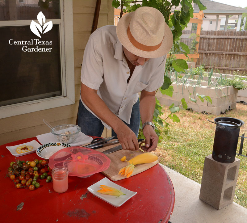 frying squash blossoms outside Richard Alcorta Central Texas Gardener