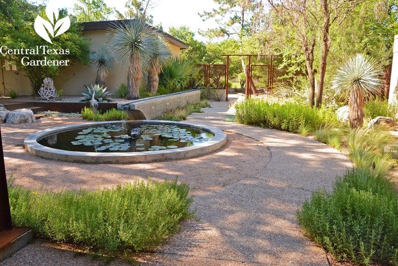 pond and rill native plant courtyard garden Central Texas Gardener