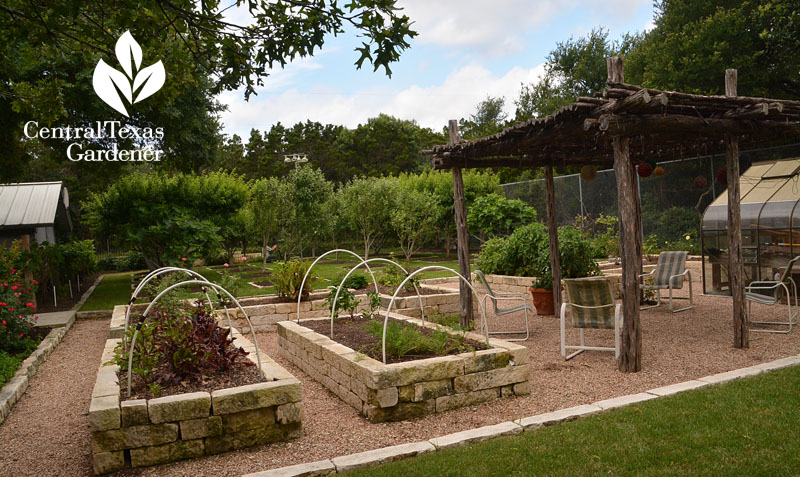 raised limestone beds ramada fruit orchard Central Texas Gardener
