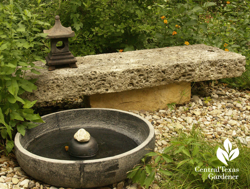Zen small water feature and bench Central Texas Gardener