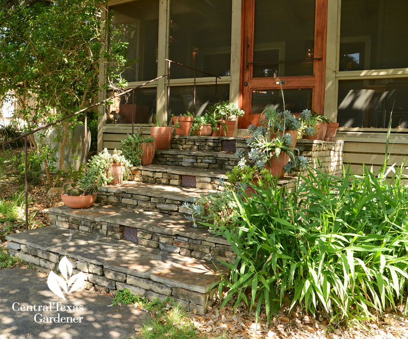 flag stone style porch steps screened in porch Central Texas Gardener