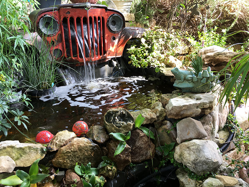 Austin Pond Society tour Bauer vehicle waterfall Central Texas Gardener
