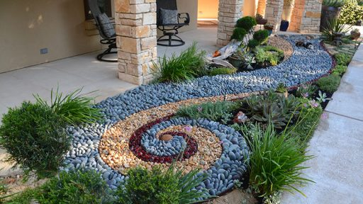 garden Kathy Payne and Greg Bright artistic stone border