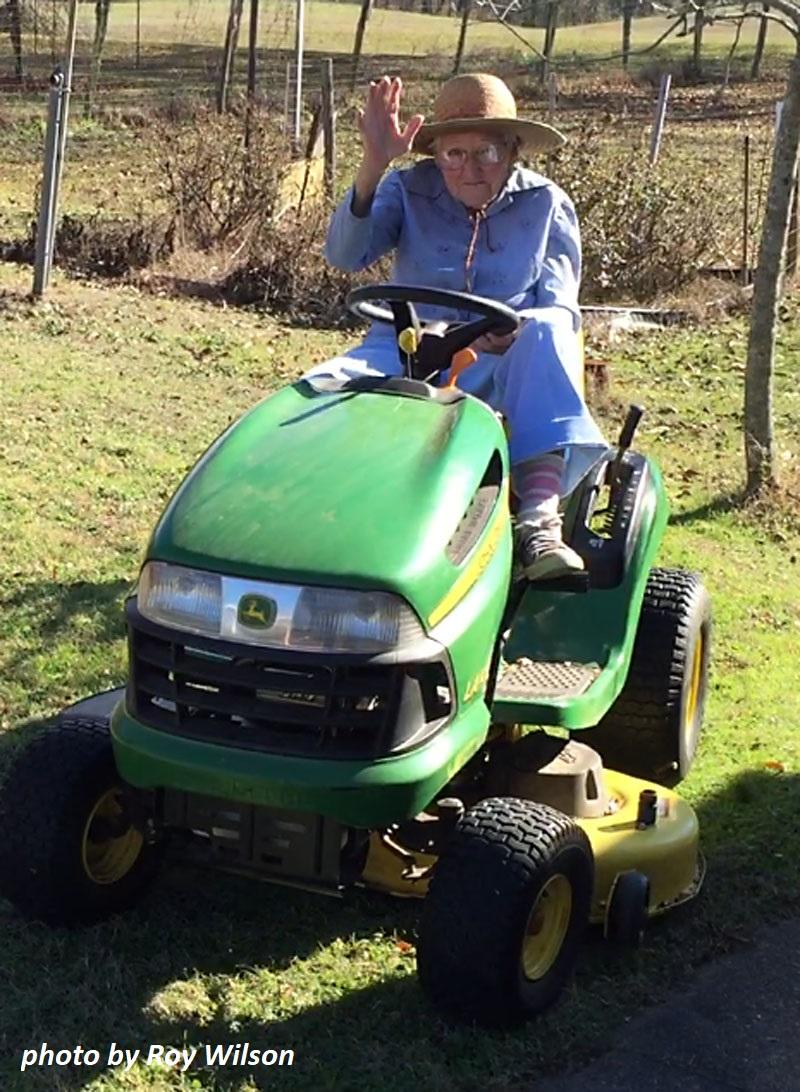 98 year old still riding John Deere tractor photo by Roy Wilson Central Texas Gardener
