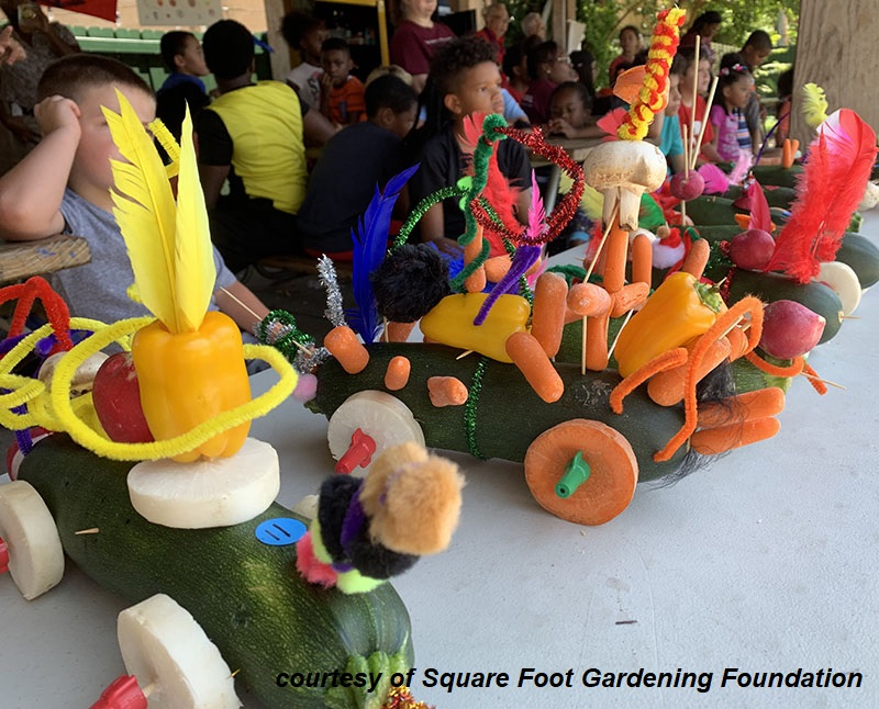 Great Zucchini Racers kids Square Foot Gardening