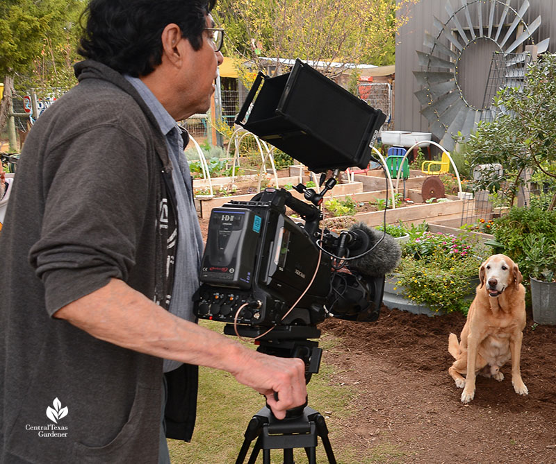 Ed Fuentes and dog Howdy Julie Nelson Key Angermann garden