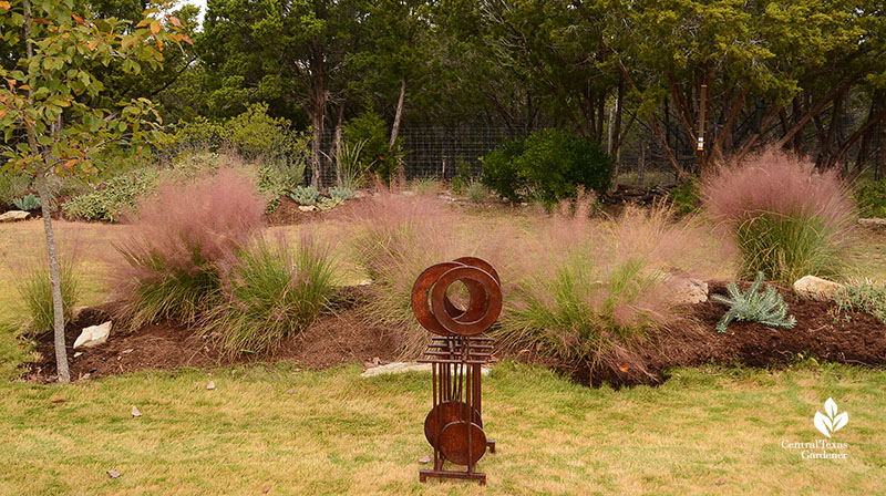 Gulf muhly berm with recycled find for garden art Julie Nelson Kay Angermann garden