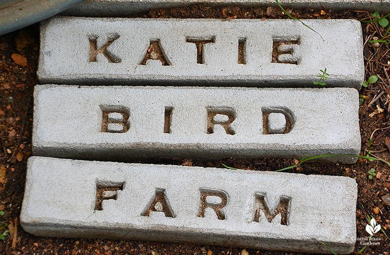 Katie Bird Farm stenciled bricks Julie Nelson Kay Angermann garden
