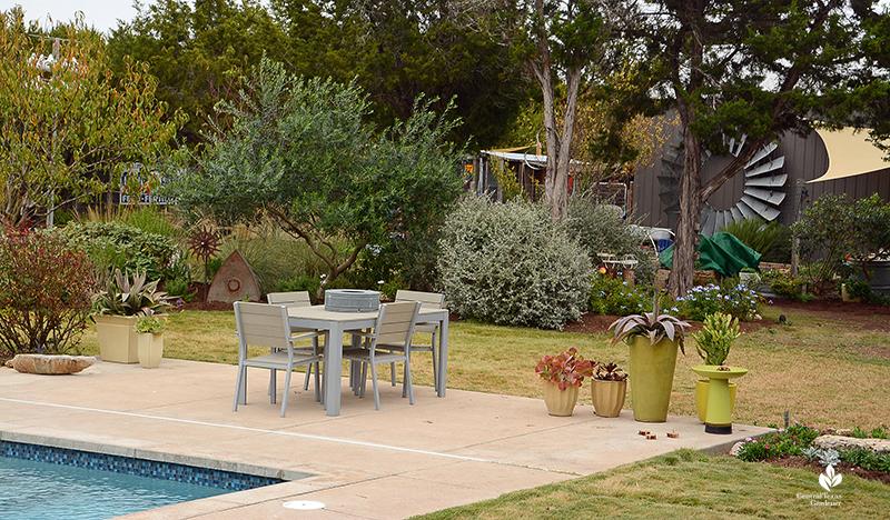Pool to screening berm charming patio garden design Julie Nelson Kay Angermann