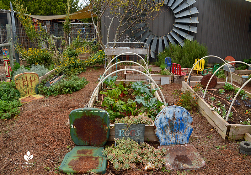 Raised vegetable beds, vintage chairs recycled finds Julie Nelson Kay Angermann