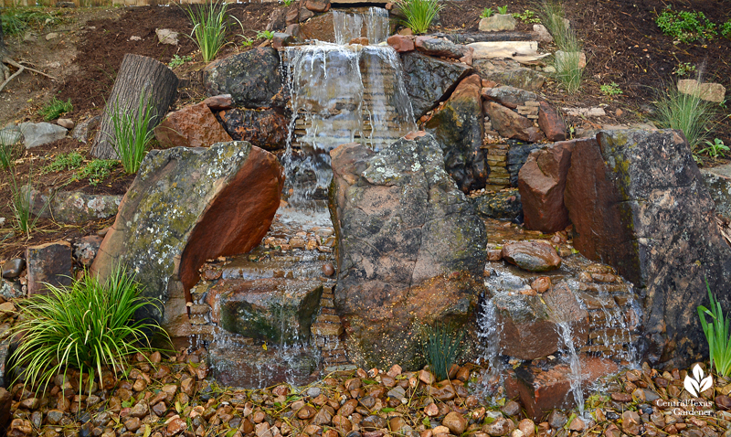 new installation waterfall rocks Texas Ponds and Water Features Cosmic Coffee