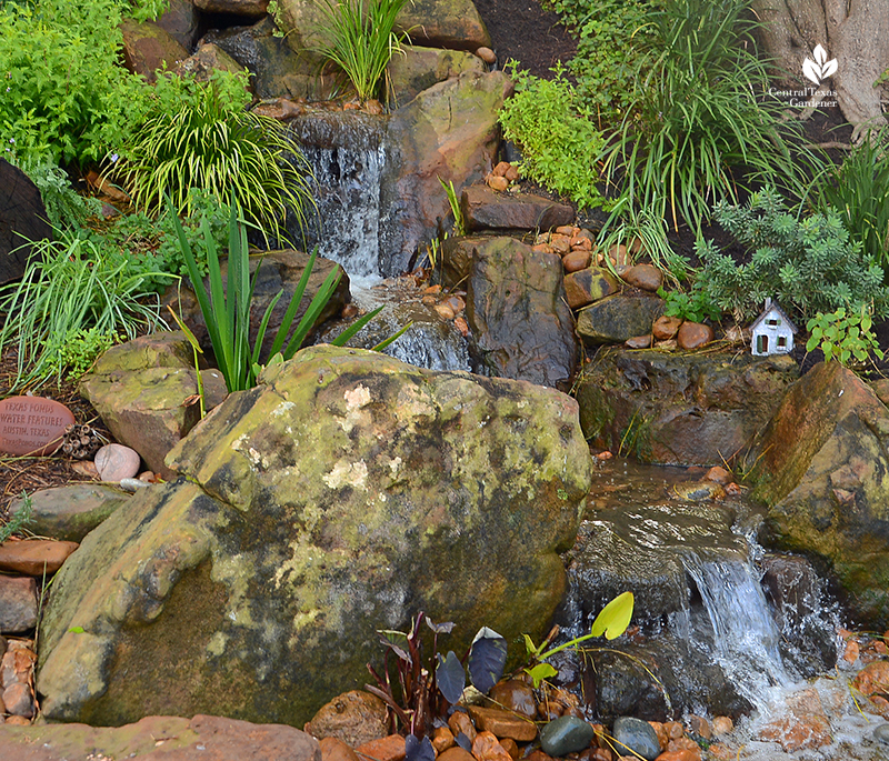 Fairy garden adds to waterfall design Texas Ponds and Water Features Cosmic Coffee