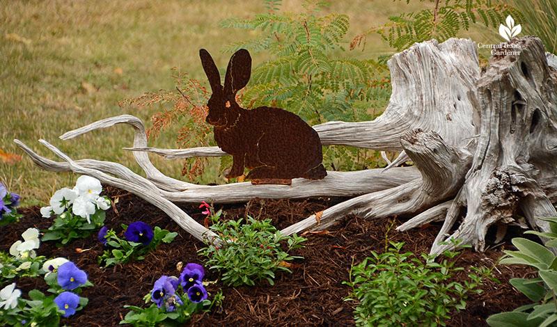 bunny sculpture cedar limb berm design Julie Nelson Kay Angermann garden Central Texas Gardener