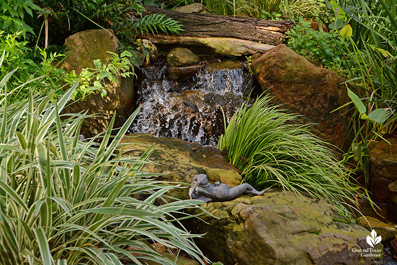 waterfall patio pond rock design Texas Ponds Cosmic Coffee + Beer Garden