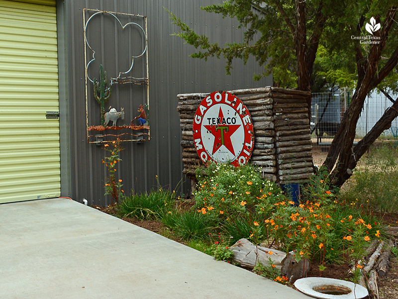 vintage Texaco sign garden art Julie Nelson Kay Angermann