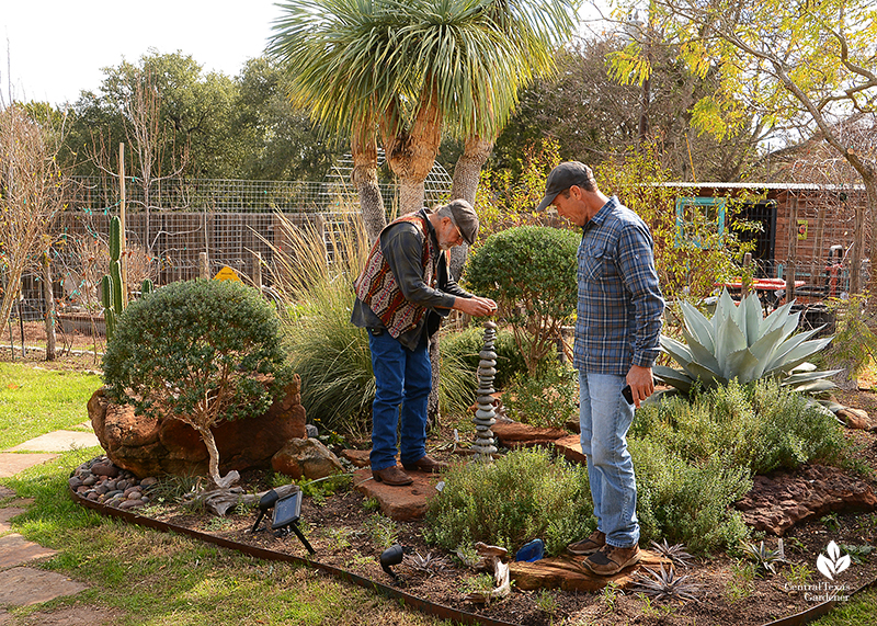 Berm well drained plants intricate rock sculpture John Dromgoole David Stalker Central Texas Gardener