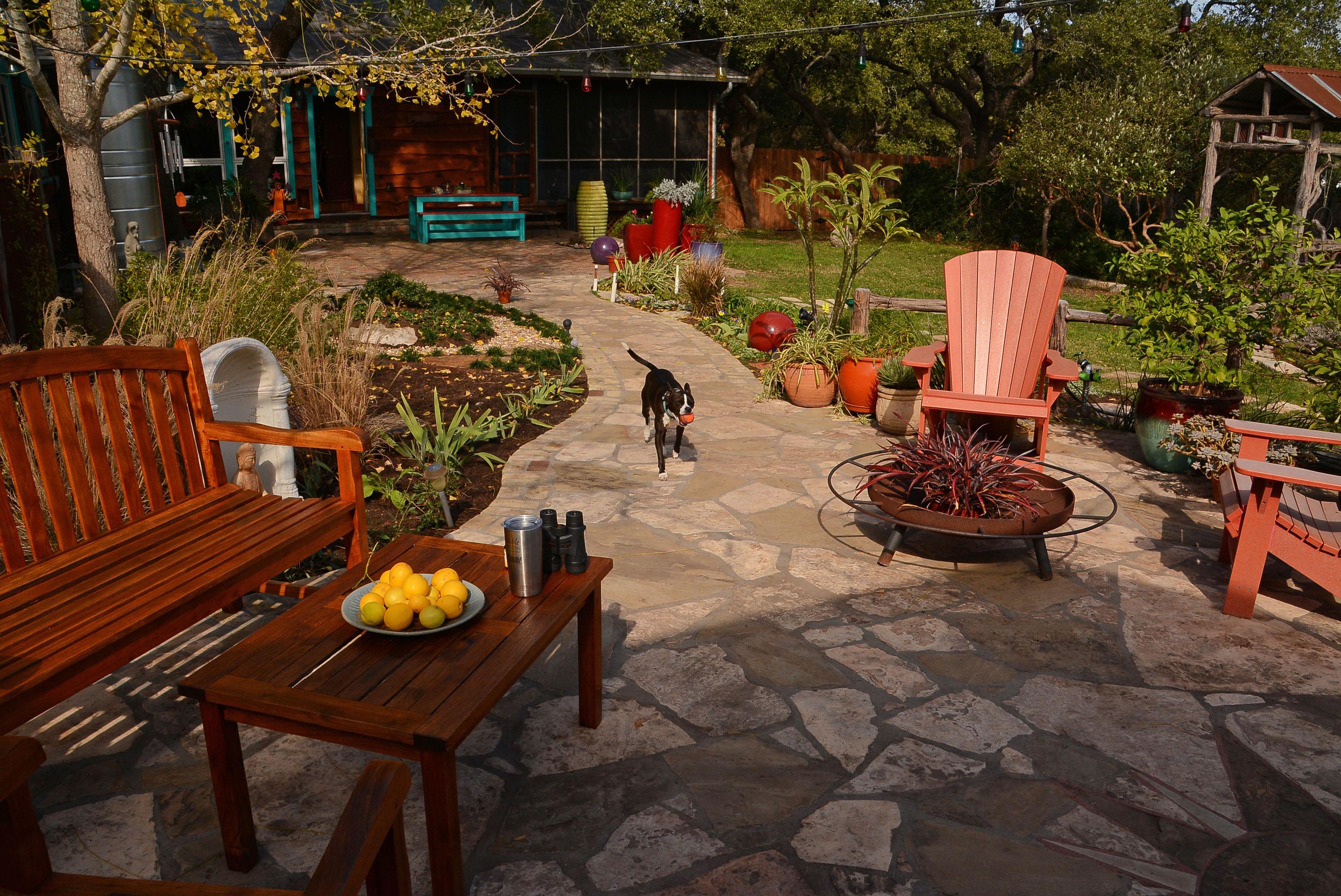 Flagstone path patio cute dog Lobo Central Texas Gardener