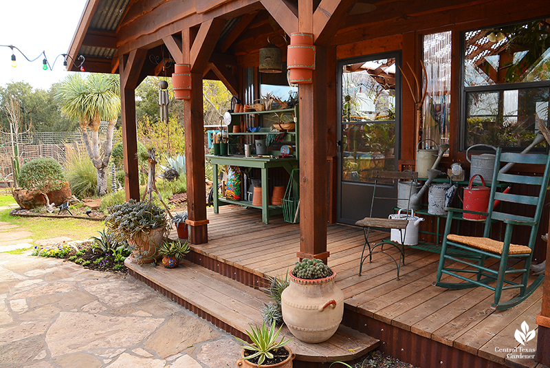 Greenhouse cottage style porch Jane and John Dromgoole Central Texas Gardener
