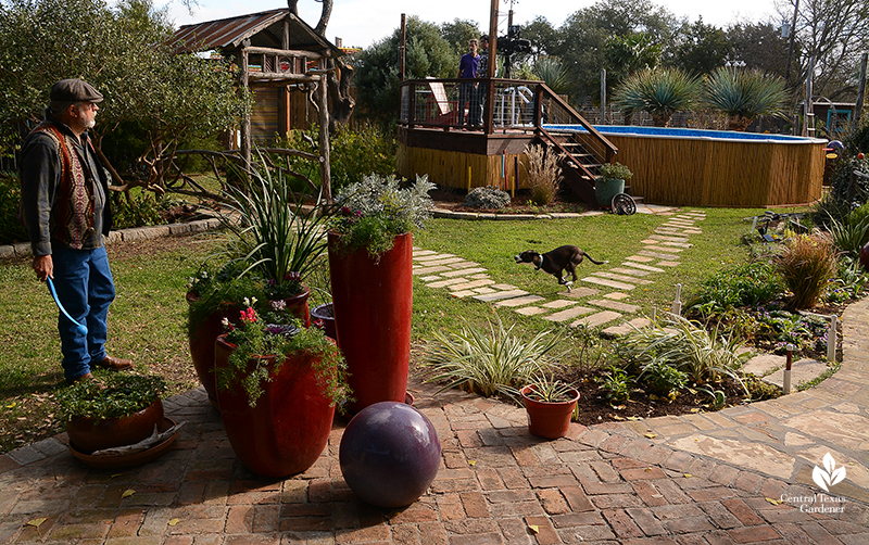 John Dromgoole and dog Lobo play fetch on partial lawn Central Texas Gardener