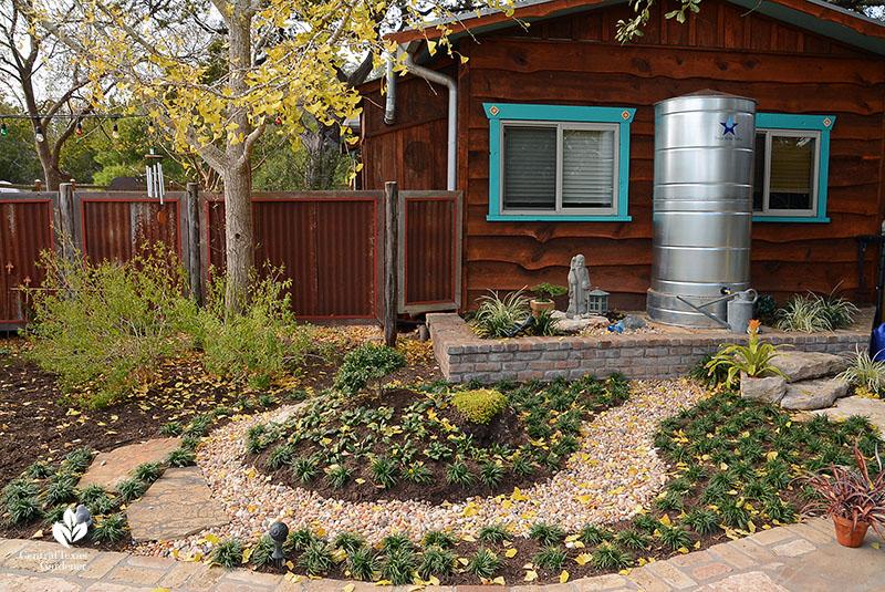 Zen garden monkey grass cistern dry creek bed John and Jane Dromgoole Central Texas Gardener