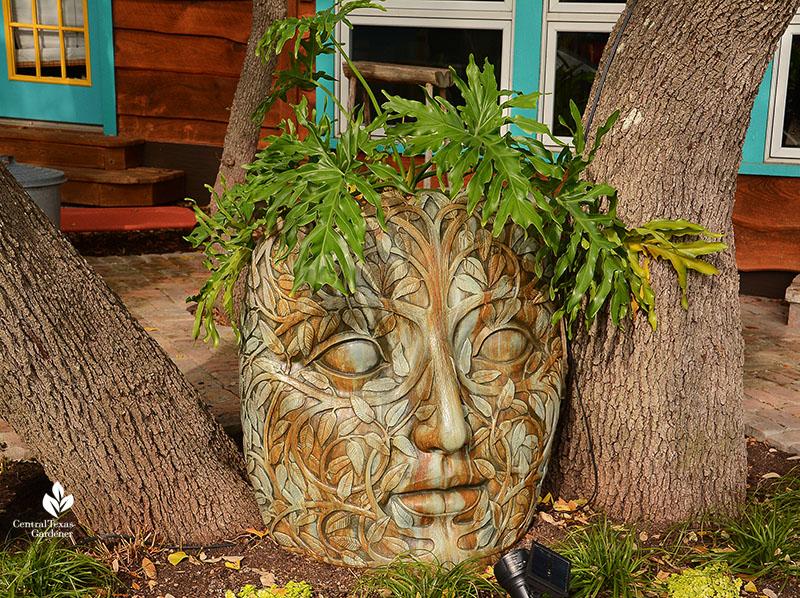 artistic planter woman's face John and Jane Dromgoole garden Central Texas Gardener