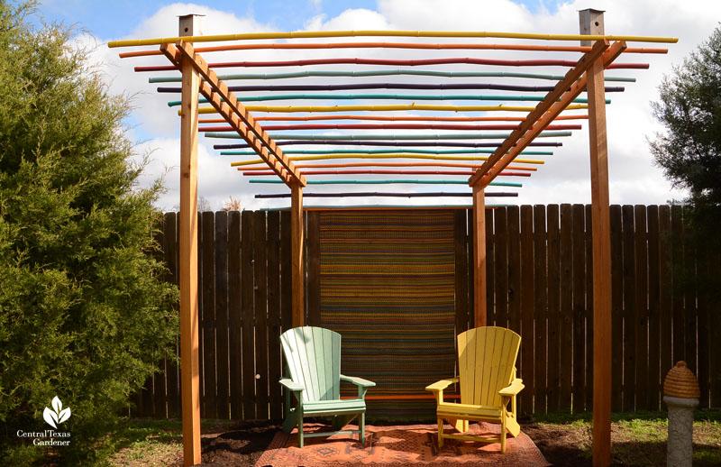 cozy cabana bamboo pergola Jane and John Dromgoole garden Central Texas Gardener