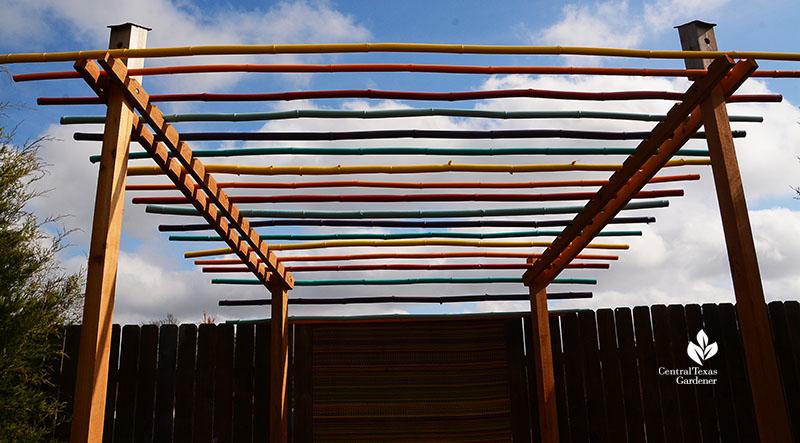 bamboo pergola acrylic based paint bright colors John and Jane Dromgoole garden Central Texas Gardener