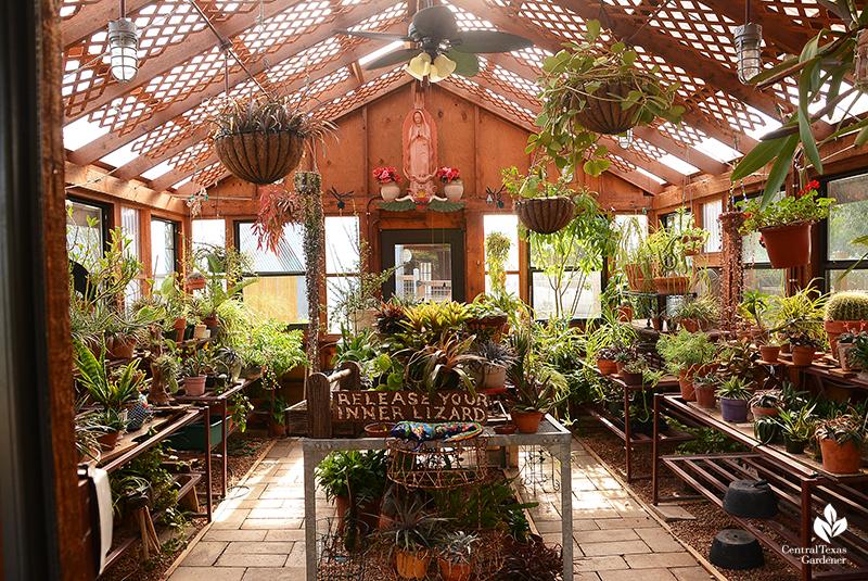 greenhouse lattice sun break Jane and John Dromgoole garden Central Texas Gardener