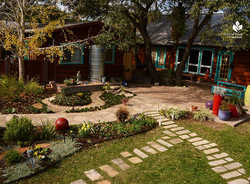 pathway design lawn cistern house patio John and Jane Dromgoole garden Central Texas Gardener