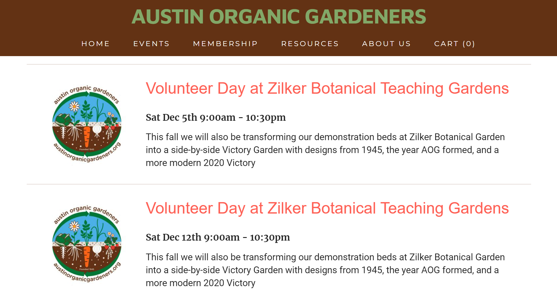 Austin Organic Gardeners website