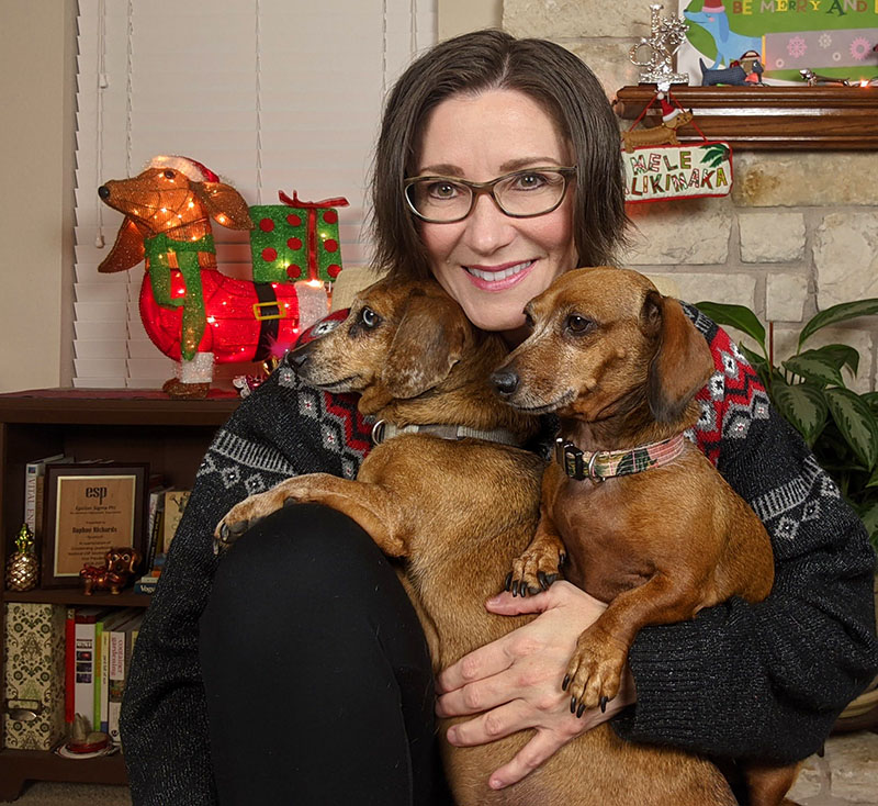 Daphne Richards with Augie doggie and Lulu Central Texas Gardener
