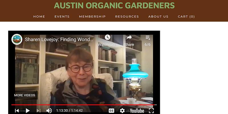 Sharon Lovejoy at Austin Organic Gardeners zoom meeting
